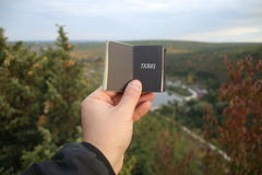 旅行概念,与文本的书 库存照片