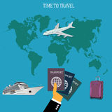 旅行概念,行李,行李, apps,在平的设计的传染媒介例证网站的 库存照片