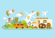 旅行横幅平的传染媒介 免版税库存图片