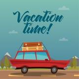 旅行横幅 汽车欧洲映射玩具旅行 冷淡的玛格丽塔酒时间假期妇女 免版税库存图片