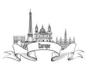 旅行欧洲标签 著名大厦和地标 欧洲加州 皇族释放例证