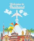旅行泰国海报 泰国传染媒介象 库存图片