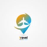 旅行点标志 现代五颜六色的传染媒介 免版税库存照片