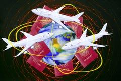 旅行环球乘飞机 库存图片
