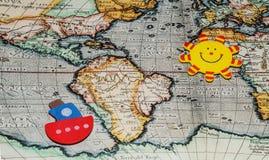 旅行环球在地图 库存图片