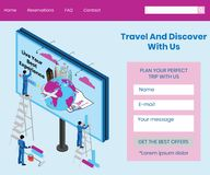 旅行环球等量艺术品概念人们预定票的地方 向量例证