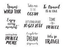 旅行生活方式启发引述字法 诱导印刷术 书法图形设计元素 库存图片