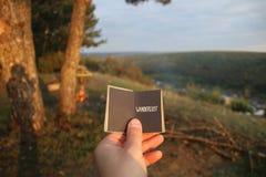 旅行癖概念,与文本的书 图库摄影