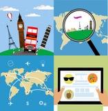 旅行的不同的类型 企业时钟概念另外显示的时间时区旅行 库存照片