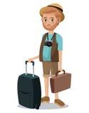 旅行的人胡子旅游照相机股份单手提箱 免版税库存图片