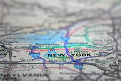 旅行的地图视图对地点和目的地纽约 免版税库存图片