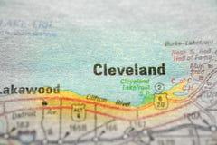 旅行的地图视图对地点和目的地Clevand 免版税图库摄影