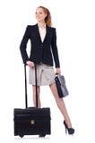 旅行的女实业家被隔绝 免版税库存照片