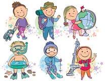 旅行的孩子 免版税库存照片