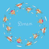 旅行的梦想概念与气球 免版税图库摄影