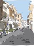 旅行的欧洲人希腊街道剪影 图库摄影