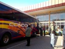 旅行的汽车站在瓦尔帕莱索,智利 库存图片
