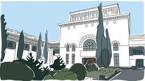 旅行的老大厦剪影 免版税库存照片