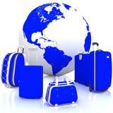旅行的行李与在白色的地球 库存图片