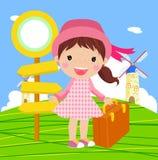 旅行的逗人喜爱的女孩 免版税库存照片
