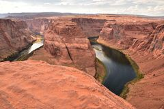 旅行的马掌弯目的地在美国 库存照片