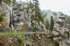 旅行的骑自行车者在假牙阿尔卑斯 免版税库存图片