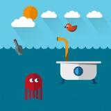 旅行的水下bathtoob用章鱼和鸟 免版税库存照片