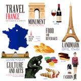 旅行的Infographic元素到法国 免版税库存照片