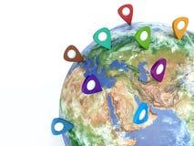 旅行目的地概念 地球上的Pin 航海在美国 3d 免版税图库摄影