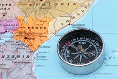 旅行目的地肯尼亚,与指南针的地图 库存图片