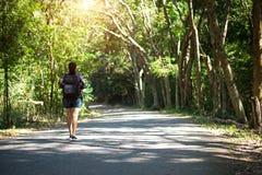 旅行看亚洲的妇女站立在森林足迹和  有背包的女性在远足本质上 免版税图库摄影