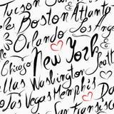旅行美国目的地城市无缝的样式 免版税库存照片