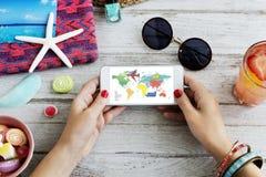 旅行航海旅途假期旅行电话概念 免版税库存照片