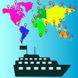 旅行船象,传染媒介例证 免版税库存图片