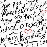 旅行英国目的地无缝的样式背景 库存图片
