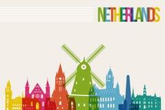 旅行荷兰目的地地标地平线背景 免版税库存照片