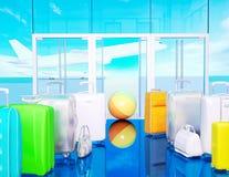 旅行袋子和飞机在天空 免版税库存图片