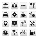 旅行被设置的旅游业按钮-   免版税图库摄影