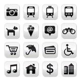旅行被设置的旅游业按钮-   免版税库存图片