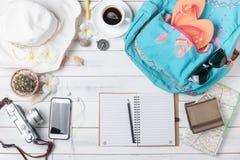 旅行计划,旅行旅行的假期辅助部件,旅游业大模型 免版税库存图片