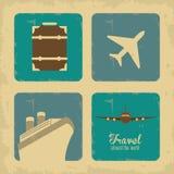 旅行设计 旅游业象 鸟逗人喜爱的例证集合葡萄酒 图库摄影