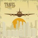 旅行设计 旅游业象 鸟逗人喜爱的例证集合葡萄酒 免版税库存图片