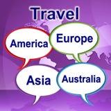 旅行词代表旅途远征和旅行家 库存照片