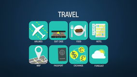 旅行象集合动画,航空公司,手提箱,食物,旅馆,地图,护照,交换,天气预报 向量例证