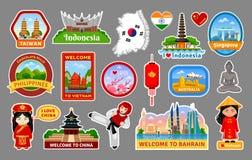 旅行贴纸,标志,亚洲的地标的大收藏 库存例证