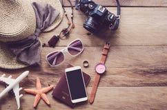 旅行辅助部件打扮旅行的费用 库存图片