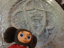 旅行通过西班牙和Cheburashka 免版税库存照片