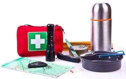 旅行集合 野营或远足的旅游成套装备 库存照片