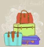 旅行颜色手提箱背景 免版税图库摄影