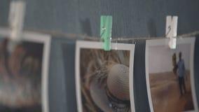 旅行,假期照片Ð hoto在墙壁上的 股票录像